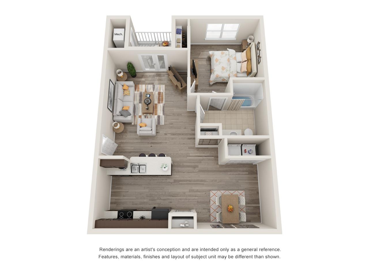 Patriot Pointe 1 Bedroom Floorplan