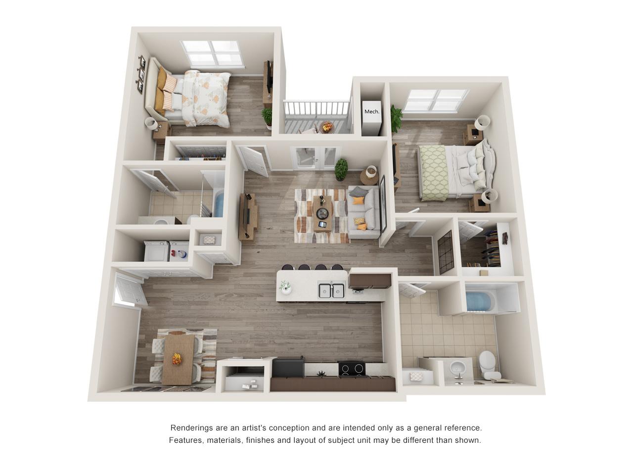 Patriot Pointe 2 Bedroom Floorplan