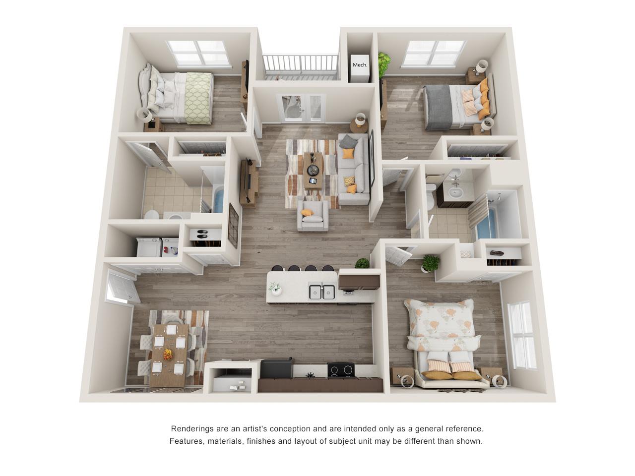 Patriot Pointe 3 Bedroom Floorplan Type 1
